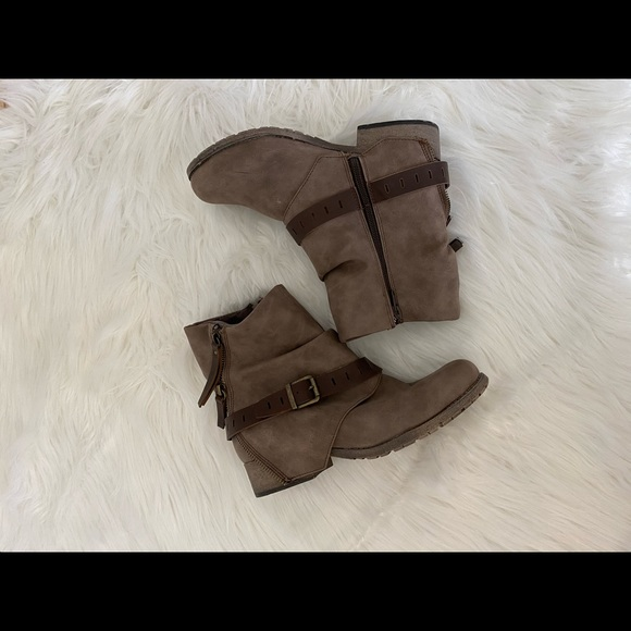 Jelly pop Buckle Zip Moto Ankle Boots